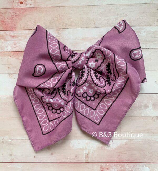 Lavender Bandana Cheer Bow- on hair tie
