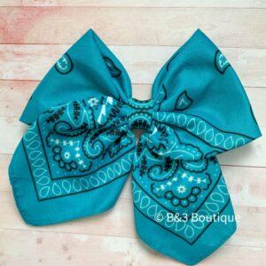 Teal Bandana Cheer Bow- on hair tie