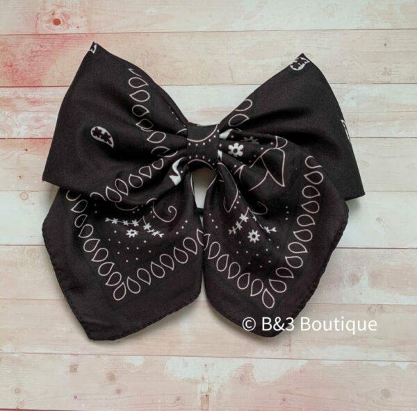 Black Bandana Cheer Bow- on hair tie