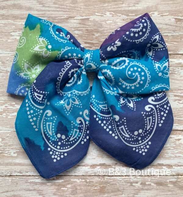 Tie dye Bandana Cheer Bow- on hair tie