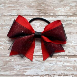 Red/Black Glitter Cheer Bow