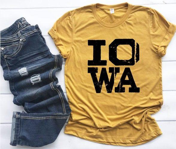 Iowa Distressed Crew Neck Softstyle Tee