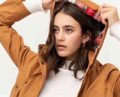 Flannel Plaid Hoodie Utility Cotton Anorak Jacket
