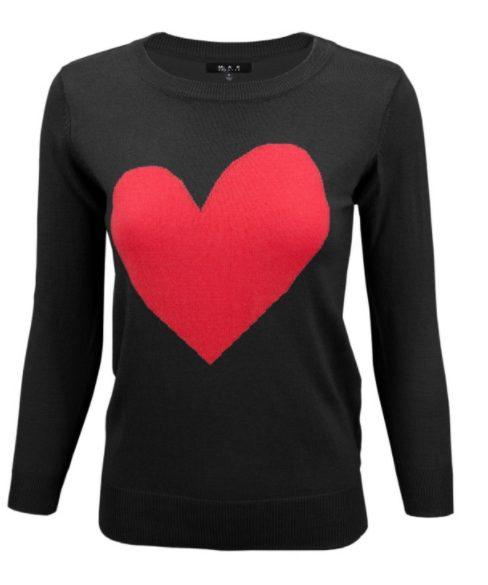 Black Cozy Heart Sweater
