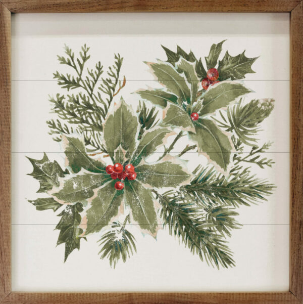 Watercolor Holly Branches – Kendrick Home Wood Sign