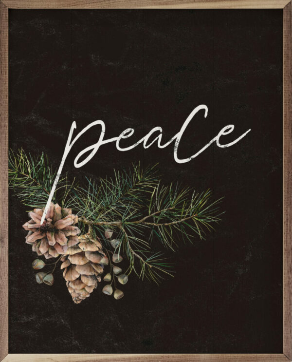 Pinecone Peace Branch Black – Kendrick Home Wood Sign