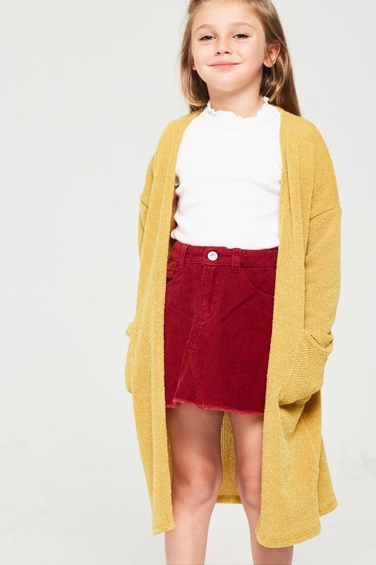 mustard open front knit cardigan