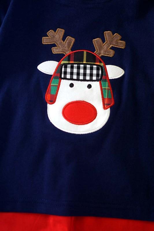 reindeer applique boy set