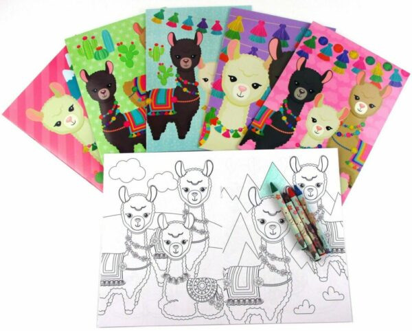 Llamas Coloring Books with Crayons Party Favors, 1 set