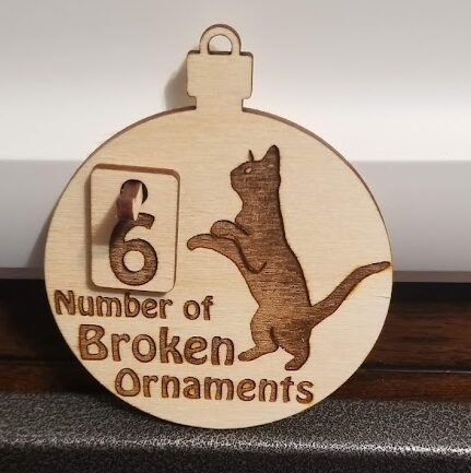 Naughty Kitty wooden ornament