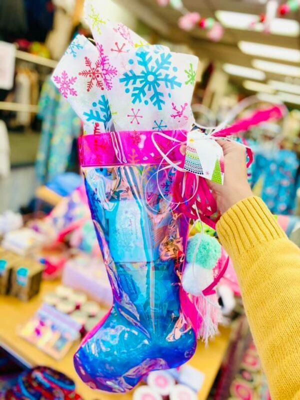 CHRISTMAS STOCKING W/ POM POMS