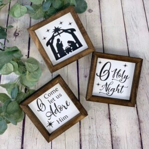 Nativity Scene Farmhouse Mini Sign Set of 3
