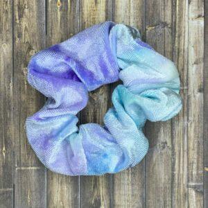 Scrunchies- Light Blue/Lavender Velvet Tie-Dye