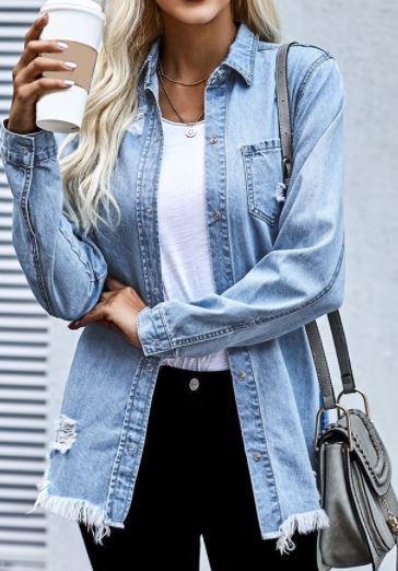 Faded Blue Distressed Denim Flannel
