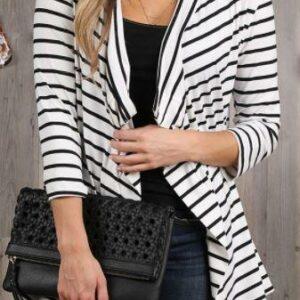 Ivory Striped 3/4 Sleeve Cardi