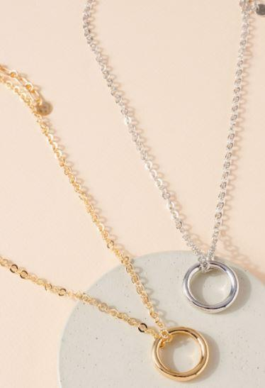 Gold or Silver Hoop Necklace