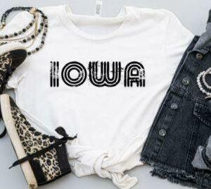 Iowa Black Lines Graphic Tshirt