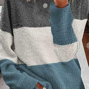 Blue Colorblock Fleece Sweater
