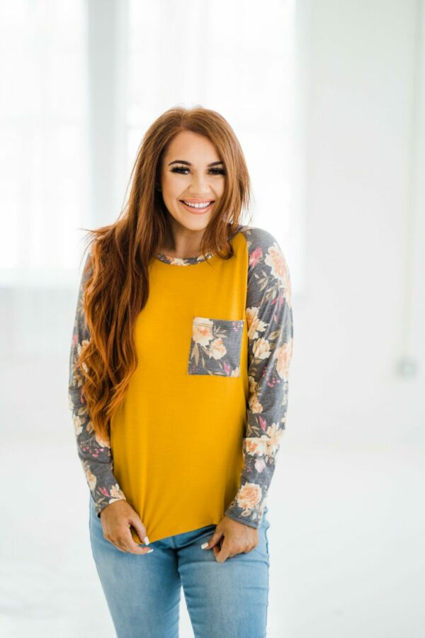 Fun With Florals Top In Mustard