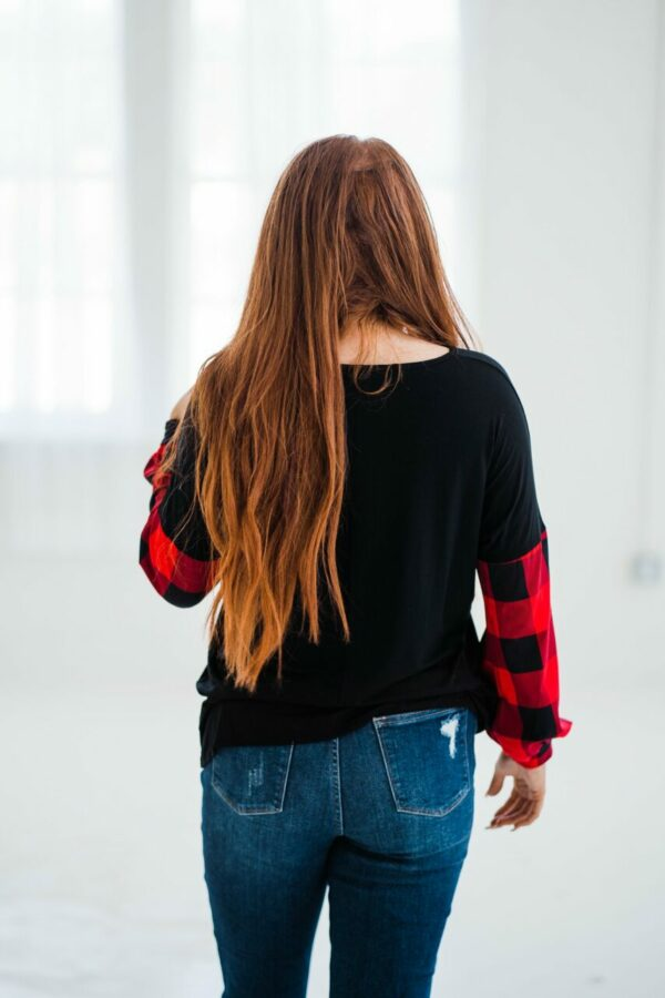 Forever Kinda Thing Plaid Sleeve Top