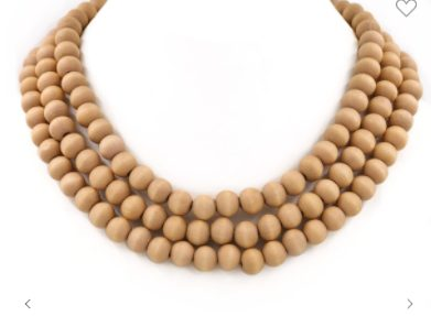 Layered Wood Bead Necklace In Natural