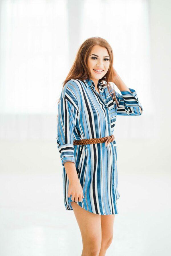 First Class Striped Shirt Dress