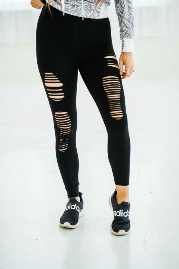 Laser Cut Leggings In Black