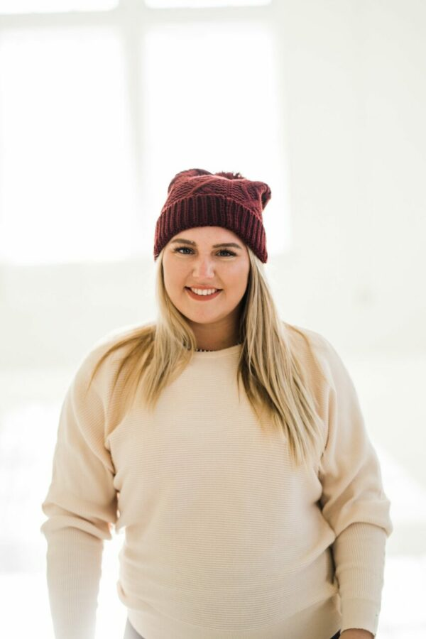 Cable Knit Pom Beanie In Burgundy