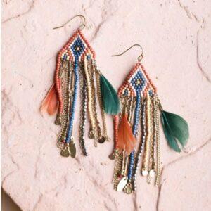 Feather Beaded Earrings