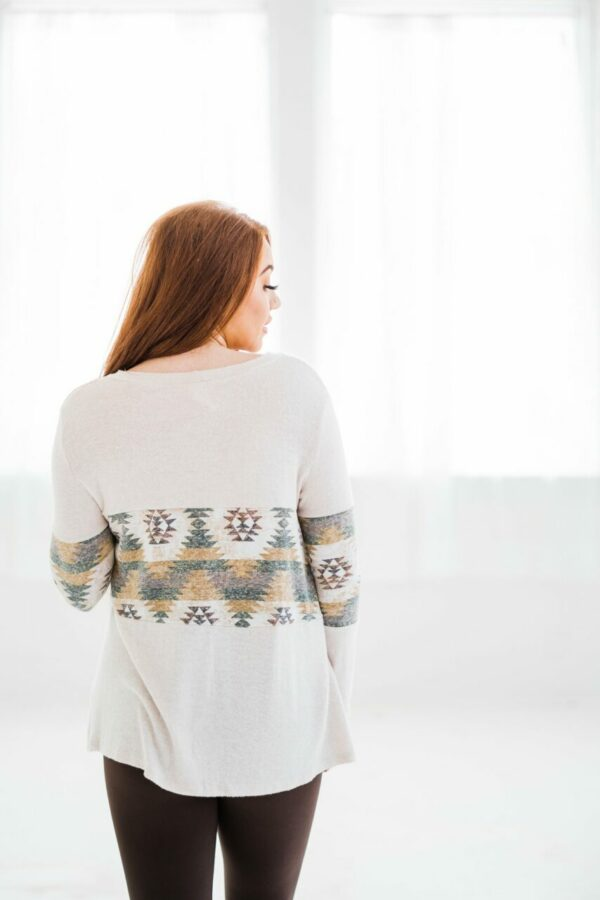 Aztec Dreams Knit Top In Olive