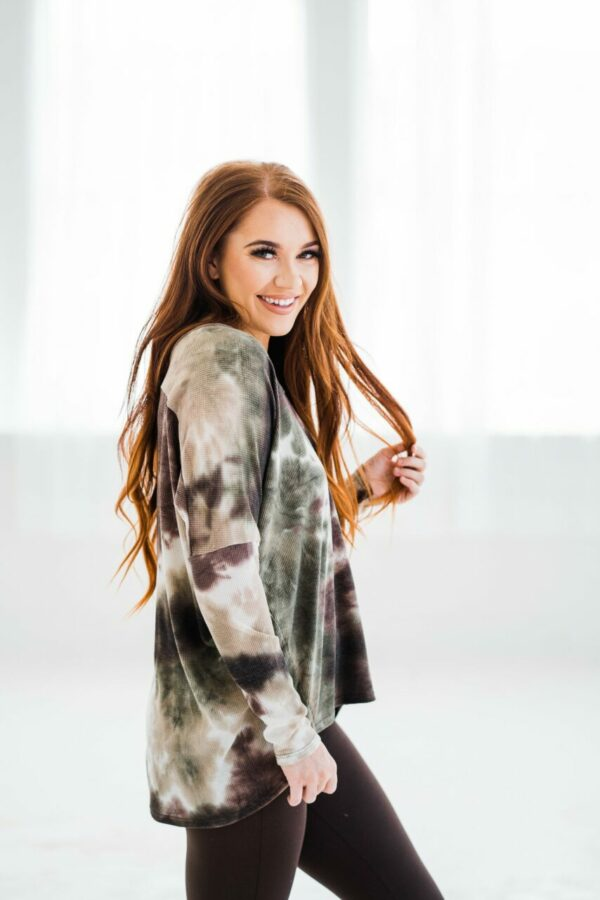 Fun With Tie Dye Top In Olive Brown