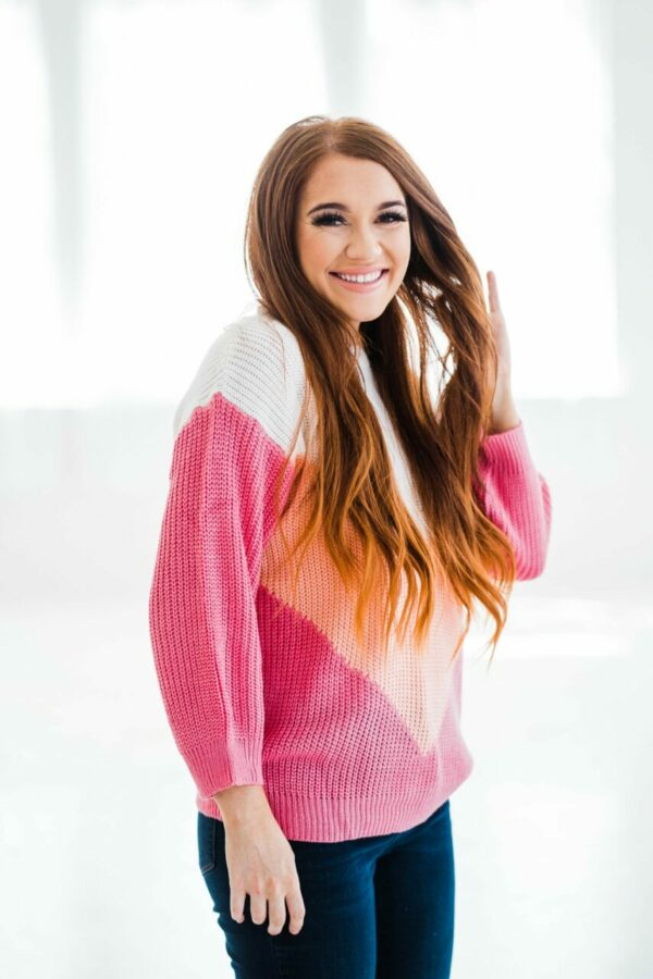 Oh My Chevron Sweater In Peach