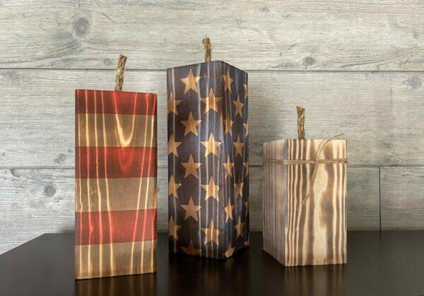 Set of Three Wooden Firecrackers