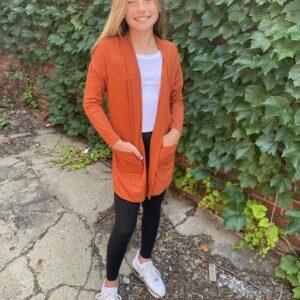 amelia rust side pocket cardigan