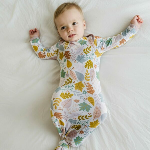Dusty Mauve Fall Leaves Infant Knotted Gown