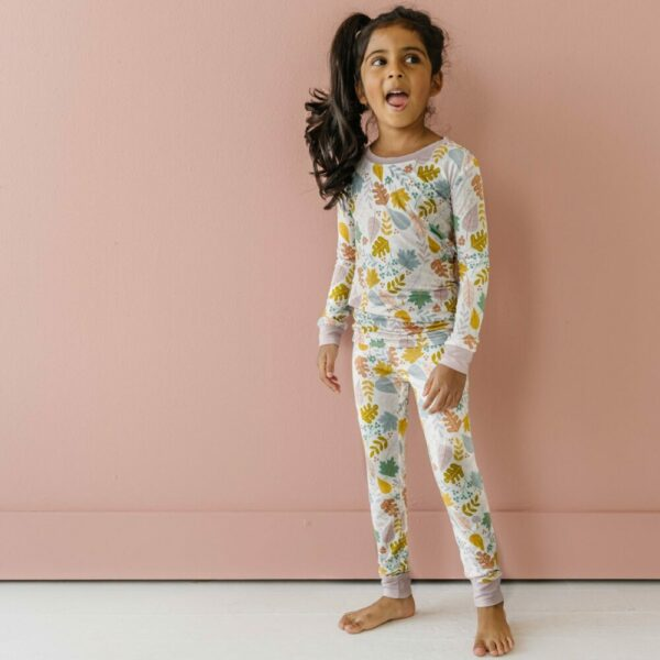 Dusty Mauve Fall Leaves two-piece pajama set
