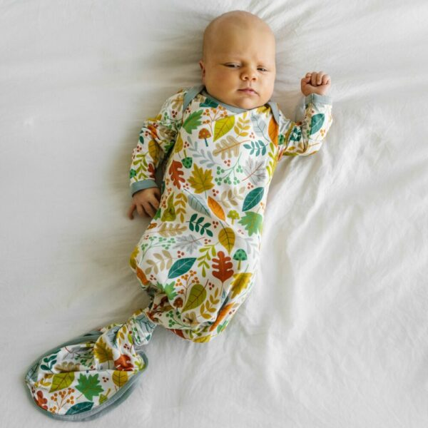 Warm Taupe Fall Leaves Infant Knotted Gown