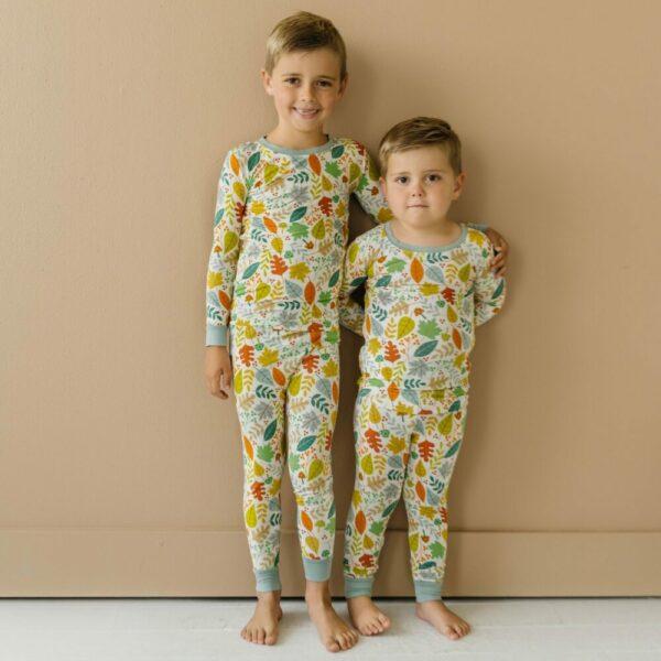 Warm Taupe Fall Leaves two-piece pajama set