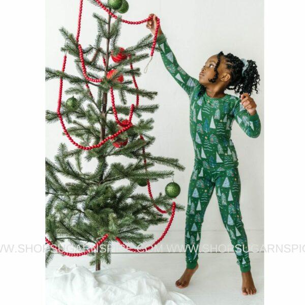 Green Twinkling Trees two-piece pajama set