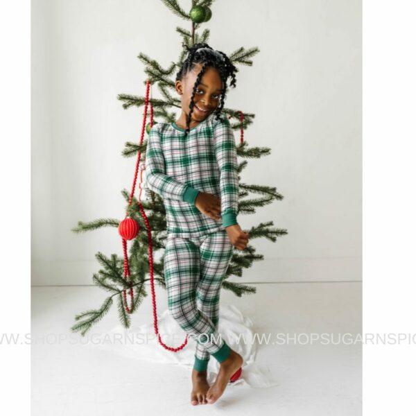Noel Plaid two-piece pajama set