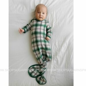 Noel Plaid Infant Knotted Gown