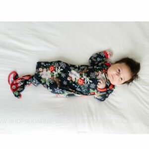 Poinsettia Floral Infant Knotted Gown