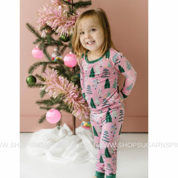 Pink Twinkling Trees two-piece pajama set