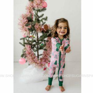 Pink Twinkling Trees convertible romper/sleeper