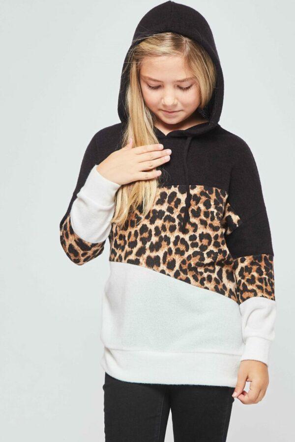 leopard colorblock hoodie top
