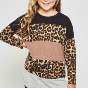 leopard print color block tunic top