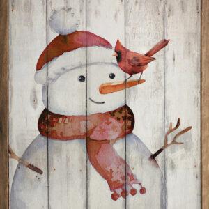Snowman and Cardinal – Kendrick Home Wood Sign