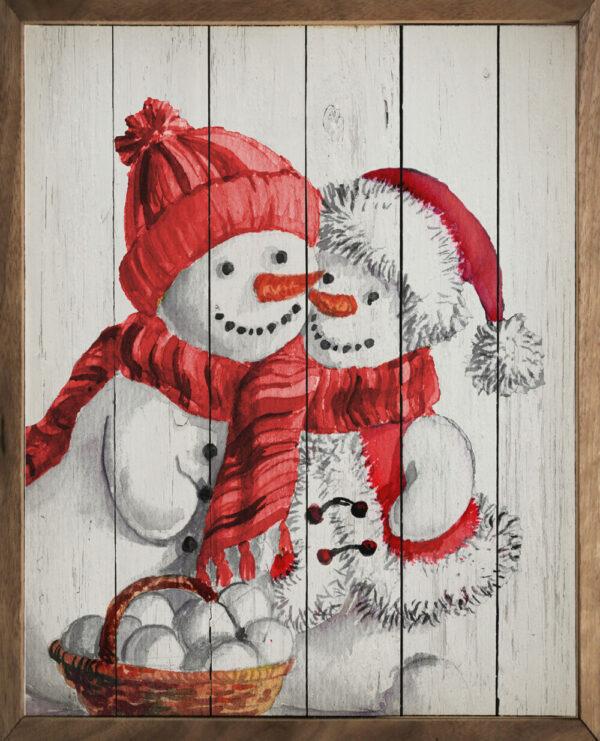 Snowman Love Whitewash – Kendrick Home Wood Sign