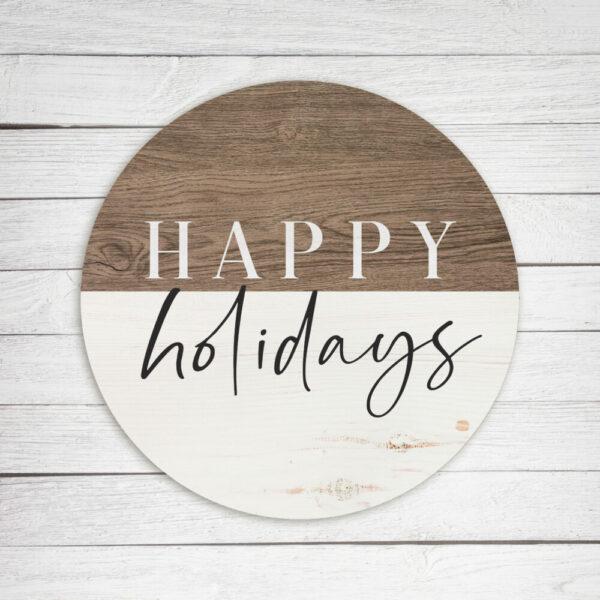 Happy Holidays Stripe Brown Circle – Kendrick Home Wood Sign