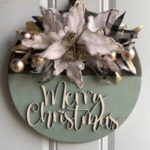Cream & Buffalo Plaid Green Christmas Sign